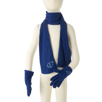 Merino Gloves and Scarf Set in blue.