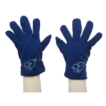 Merino Gloves in blue.