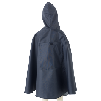 Kids Raincape Back Shot in navy.