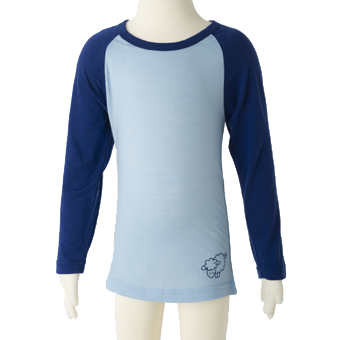 Long Sleeve Merino Wool Top in Blue.