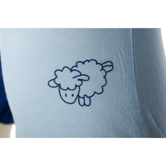 Merino Baby Body Suit Detail of Sheep in blue.