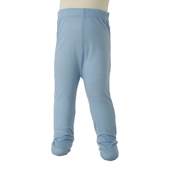 Merino Baby Footed Leggings in blue.