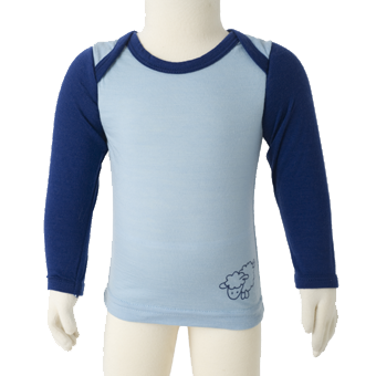 Merino Baby Long Sleeve Top in blue.