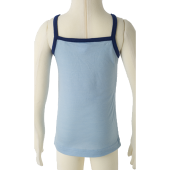 Merino Kids Camisole Top Back Shot in blue.