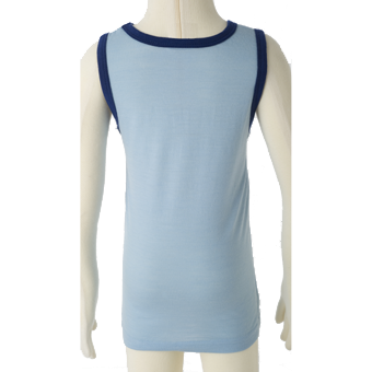 Merino Kids Sleevless Top Back shot in blue.