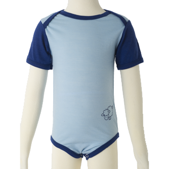 Merino Short Sleeve Body suit in blue.