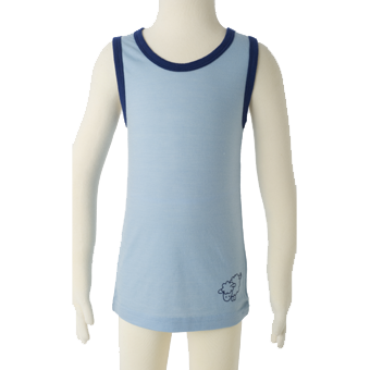 Merino Kids Sleeveless Top in blue.